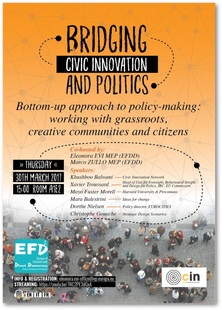 "eu parliament 30 3 European Parliament - Thursday 30 March - ""Bridging Civic Innovation & Politics"""